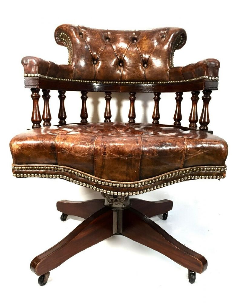 Antique 1930's Hillcrest Captains Office Desk Chair / Brown Leather Chesterfield